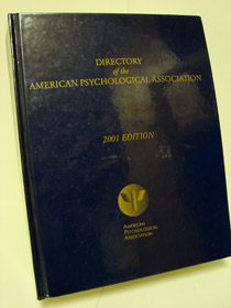 Directory of the American Psychological Association, 2001 Edition, American Psychological Association