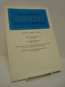 The Journal of Aesthetics and Art Criticism (Volume 50, Number 4, Fall 1992), Fenner, David; Stecker, Robert, et al