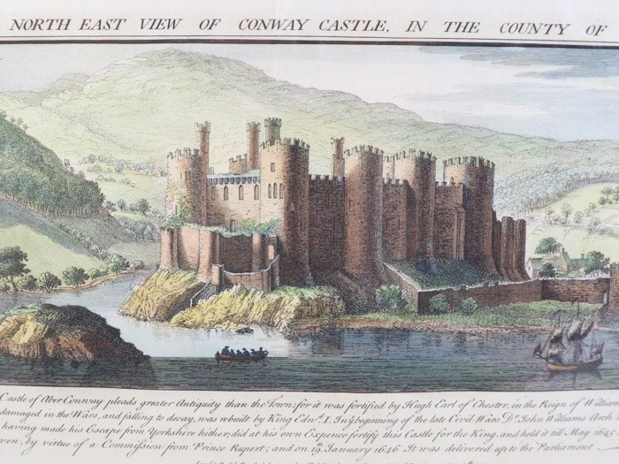 The North East View of Conway Castle, in the County of Caernarvon -- Original Engraving from Buck's Antiquities; or, Venerable Remains of... Castles, Monasteries, Palaces, &c. &c., Number 372, Buck, Samuel & Nathaniel; Sayer, Robert