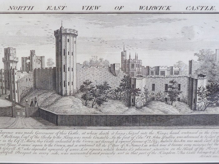 The North East View of Warwick Castle - Original Engraving from Buck's Antiquities; or, Venerable Remains of... Castles, Monasteries, Palaces, &c. &c., Number 306, Buck, Samuel & Nathaniel; Sayer, Robert