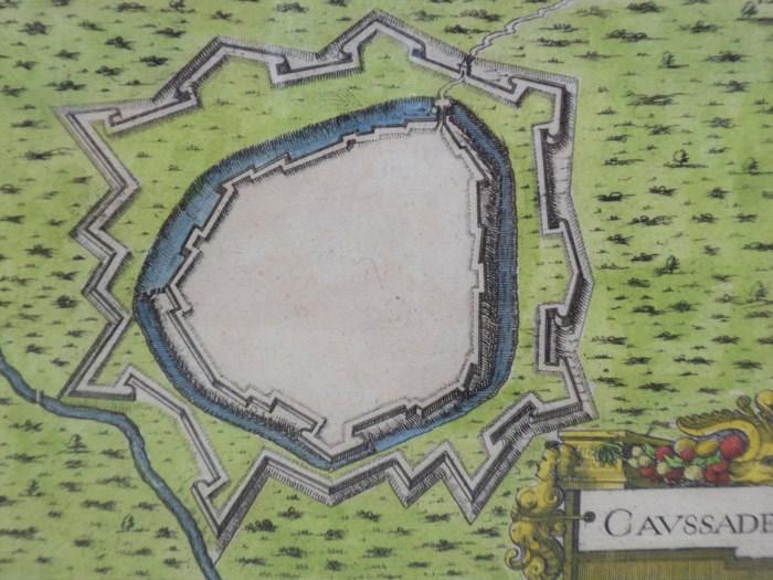 Hand Colored 1636 Print, Map of Caussade, from 'Les plans et profils de toutes les principales villes et lieux considerables de France', [Tassin, Nicholas]