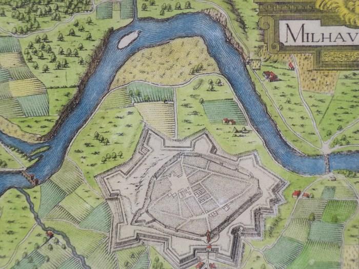Hand Colored 1636 Print, Map of Milhau, from 'Les plans et profils de toutes les principales villes et lieux considerables de France', [Tassin, Nicholas]