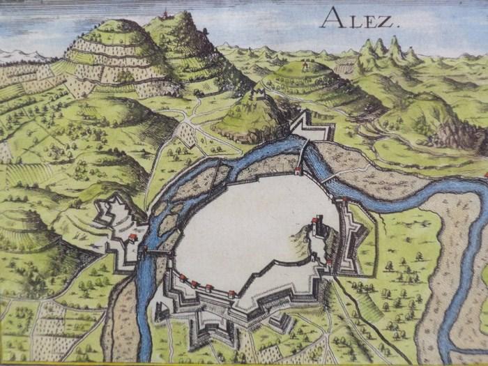Hand Colored 1636 Print, Map of Alez, from 'Les plans et profils de toutes les principales villes et lieux considerables de France', [Tassin, Nicholas]