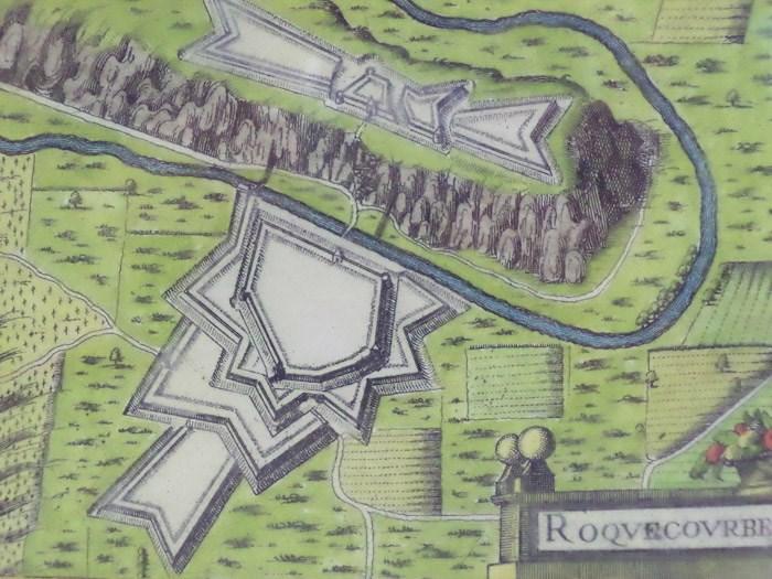 Hand Colored 1636 Print, Map of Roquecourbe, from 'Les plans et profils de toutes les principales villes et lieux considerables de France', [Tassin, Nicholas]