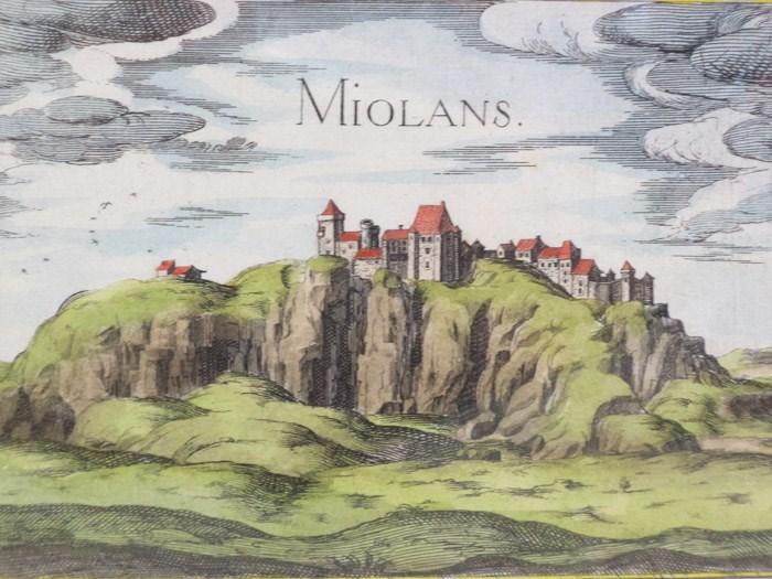 Hand Colored 1636 Print of Miolans, from 'Les plans et profils de toutes les principales villes et lieux considerables de France', [Tassin, Nicholas]