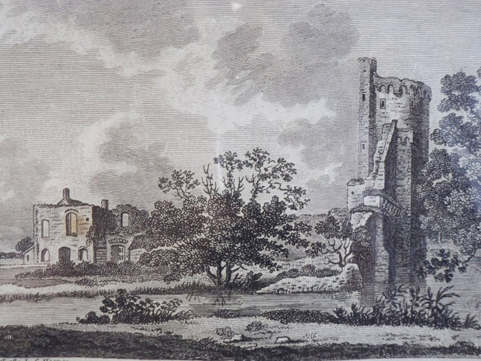 1784 Engraving and Plan of Castor Hall and Caster [Caister] Castle in Norfolk [England], Sparrow, S.