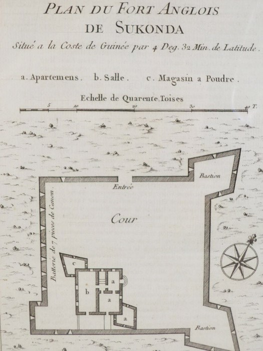 1747 Plan from Prevost's 'Histoire Generale des Voyages': Plan du Fort Anglois de Sukonda, Situe a la Coste de Guinee par 4. Deg. 32. Min. de Latitude, [Prevost]