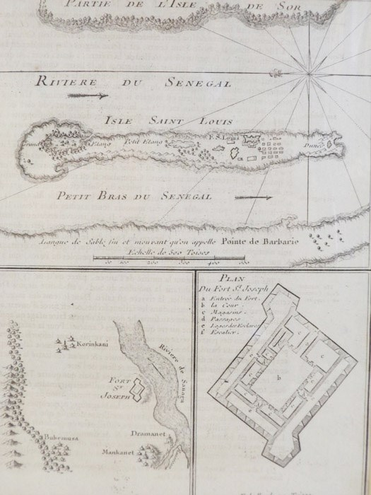 1747 Map and Plan from Prevost's 'Histoire Generale des Voyages': Plan du Fort St Joseph with Two Maps, [Prevost]