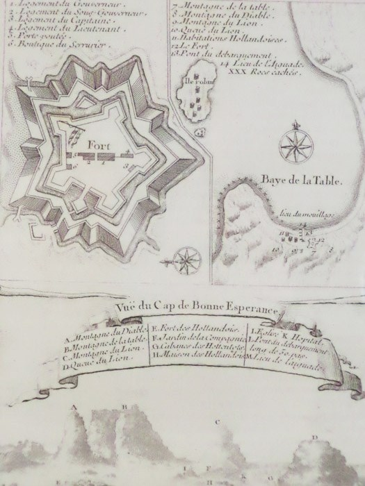 1747 Plan from Prevost's 'Histoire Generale des Voyages', Three Views: Birds'-Eye Plan; Birds'-Eye Map of Fort along 'Baye de la Table'; Vue du Cap de Bonne Esperance, [Prevost]