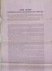 An Act to Incorporate the Capital & Labor Co-operative Banks of Pennsylvania, House of Representatives of the Commonwealth of Pennsylvania