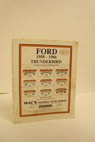 Ford Thunderbird 1958-1966: Parts Catalog and Price List