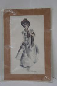 1905 Howard Chandler Christy Matted Print: Girl in Dress, Christy, Howard Chandler