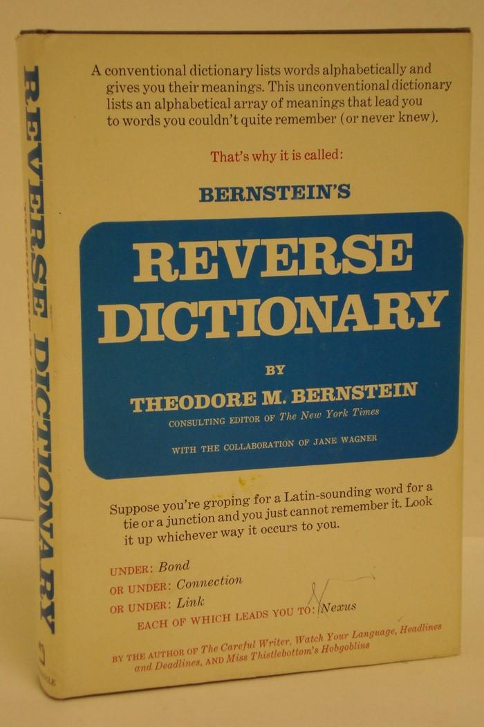 Bernstein's Reverse Dictionary, Bernstein, Theodore M.; Wagner, Jane (Collaborator)