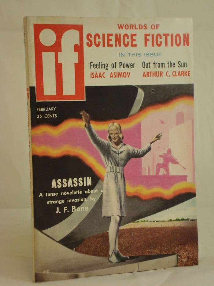 IF: Worlds of Science Fiction, February 1958 (Volume 8, No. 2), Bone, J.F.; Asimov, Isaac; Clarke, Arthur C.; Sentry, John; Wilber, Elaine; Nourse, Alan E.; Clinton, Ed M.; Bartholomew, Stephen; Hoskins, Phillip