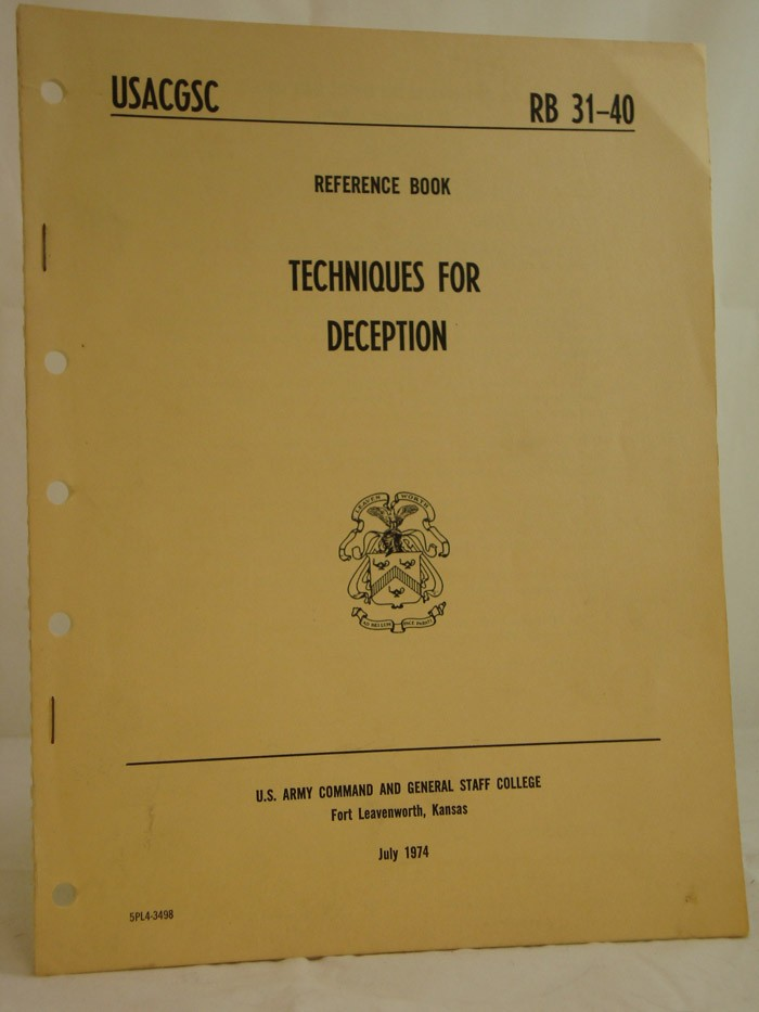 Techniques for Deception (USACGSC Reference Book RB 31-40, July 1974)