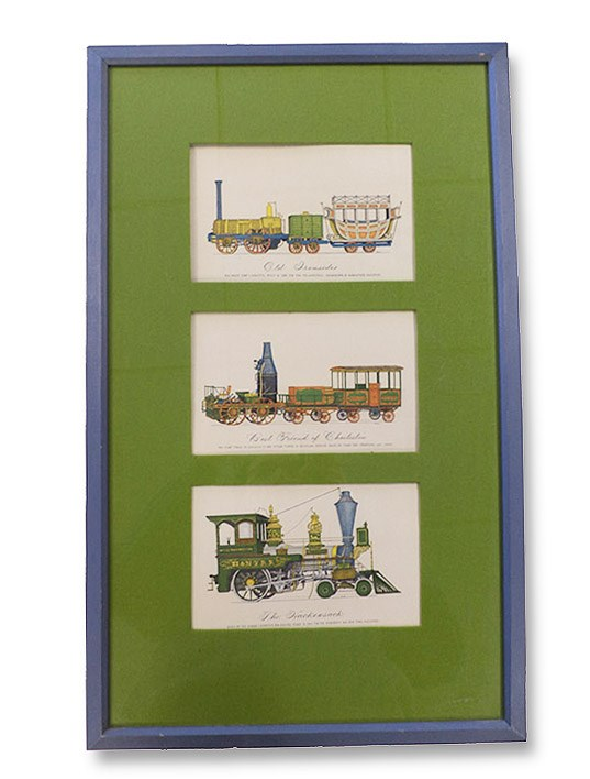 Triptych of Hand-Colored Locomotive Prints by Evelyn Curro, Curro, Evelyn