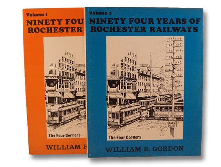 94 Years of Rochester Railways Volume 1: Rochester City and Brighton Railroad, 1862-1890; Rochester Electric Railroad, 1889-1890; Rochester Railway Company, 1890-1909; Rochester and Lake Ontario Railway, 1872; The Rochester and Irondequoit R.R. Company, 1893; Rochester Suburban Railway Company, 1900; Rochester Railway and Light Company, 1904-1914; New York State Railways, 1909-1938 [with] Ninety Four Years of Rochester Railways Volume 2: Rochester Lines; Ruggles Rotary Plows and Sweepers; Subway: 138 Photos and 5 Maps; Suburban Bay Railroad to Sea Breeze, Irondequoit Railroad; Tickets, Transfers and Tokens; Trackless Trolleys: 1923-1932; Rochester and Sodus Bay: 1901-1929; Rochester and Eastern Rapid Railway: Pittsford, Canandaigua, Geneva and Victor: 1903-1930; Rochester, Syracuse and Eastern R.R. - The On Time Route: 1906-1931; Buffalo, Lockport and Rochester Railroad: 1908-1931; Rochester, Charlotte and Manitou Beach Railroad: 1894-1924; Erie Railroad - The Electrics to Avon and..., Gordon, William R. [Reed]