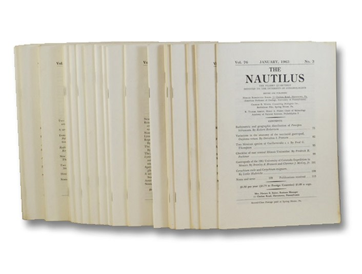 28-Volume Non-Continuous Run of Nautilus: The Pilsbry Quarterly Devoted to the Interests of Conchologists, Baker, Horace Burrington; Wurtz, Charles B.; Abbott, R. Tucker