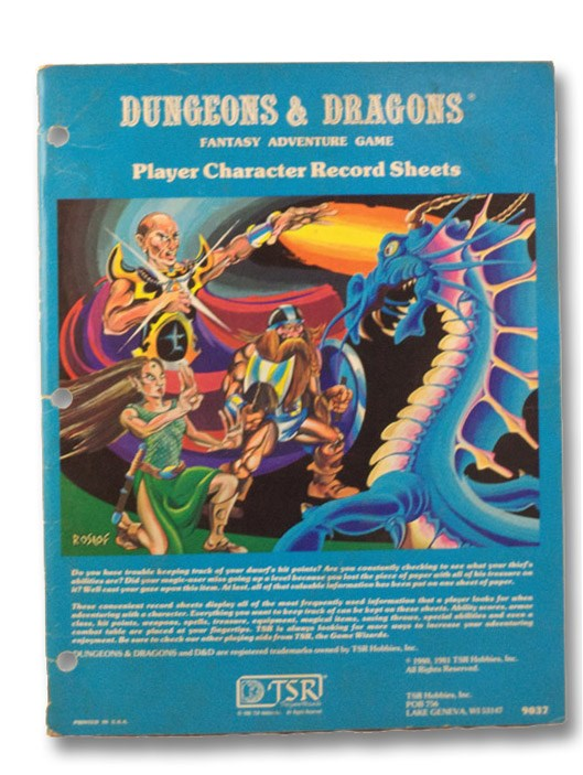Dungeons & Dragons Character Record Sheets (#9037), TSR