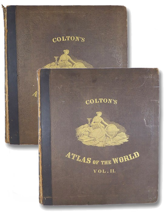 Colton's Atlas of the World, illustrating Physical and Political Geography., Accompanied by Descriptions Geographical, Statistical, and Historical, in Two Volumes: North and South America, Etc.; Europe, Asia, Africa, Oceanica, Etc., Colton, George W. [Woolworth]; Fisher, Richard Swainson