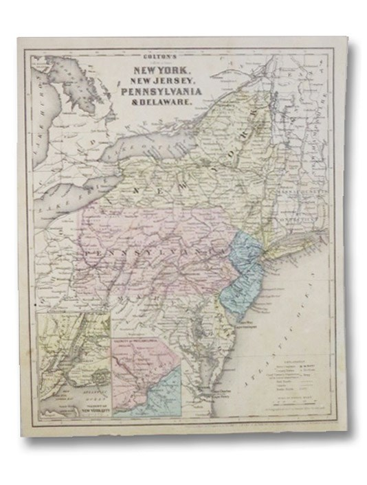 1860 Colton's Map: New York, New Jersey, Pennsylvania, & Delaware. / Vermont, Massachusetts, Rhode Island, & Connecticut.