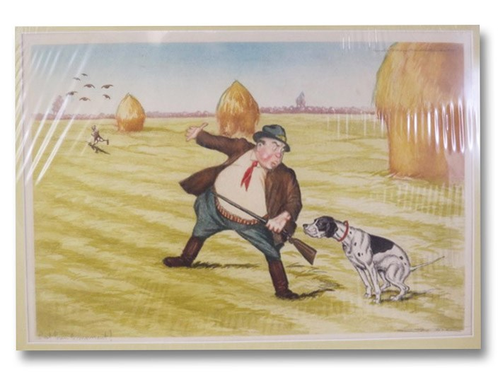 C'Est Bon Le Moment!: Circa 1950 Matted French Color Hunting Print of Man Reprimanding Lazy Dog as Rabbit and Birds Escape, Unknown Artist