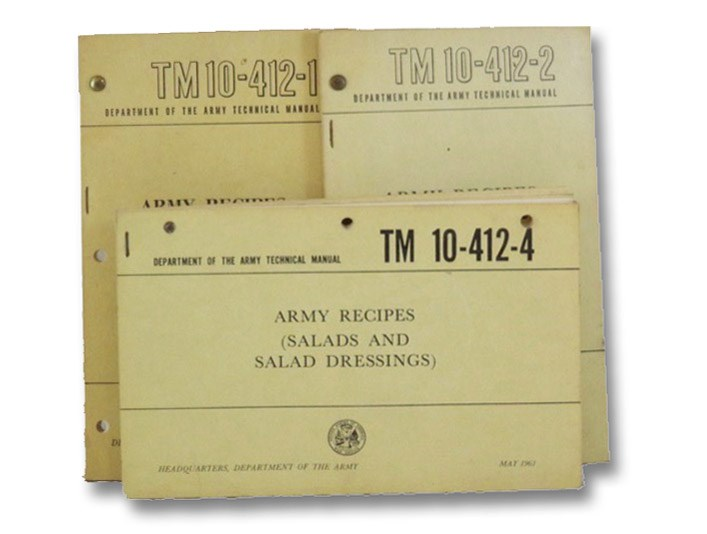 Three United States Department of the Army Technical Manuals on Army Recipes: Army Recipes (Meat, Poultry, Fish, Gravies, Sauces, and Dressings) (TM 10-412-1); Army Recipes (Eggs, Cheese, and Sandwiches) (TM 10-412-2); Army Recipes (Salads and Salad Dressings) (TM 10-412-4), Department of the Army [United States]