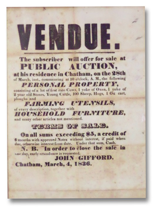 1836 Broadside Advertising Public Auction of Livestock, Farming Utensils, and Household Furnishings in Chatham [Columbia County, New York], Gifford, John