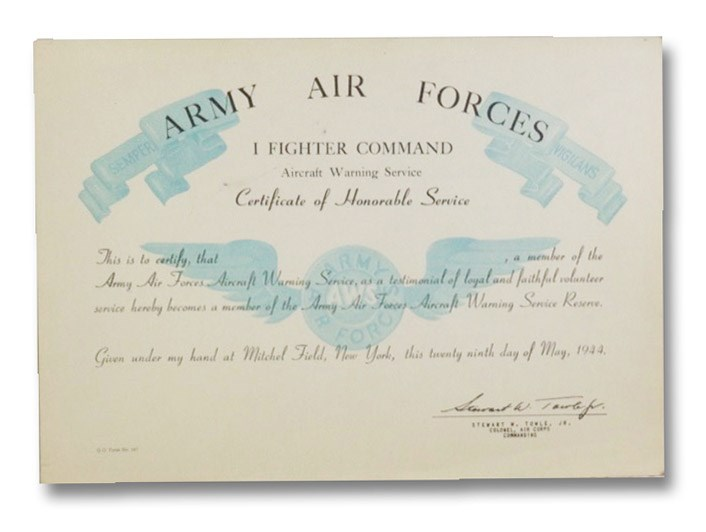 Army Air Force I Fighter Command Aircraft Warning Service Certificate of Honorable Service (Mitchel Field, New York: May 29, 1944)