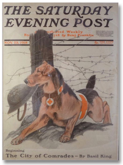 Framed Cover of The Saturday Evening Post, Nov. 23, 1918, Featuring Trench Warfare Scene of American Red Cross Service Dog in World War I, Bull, Charles Livingston