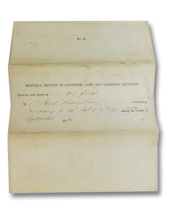 American Civil War Manuscript Document: Monthly Return of Clothing, Camp and Garrison Equipage, Completed by First Lieutenant Henry Bose on Behalf of the 41st Regiment of New York Volunteers on October 4, 1864 (No. 51), Bose, Henry