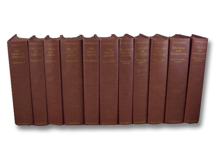 The Story of Civilization 11 Volume Hardcover Set: I. Our Oriental Heritage, II. The Life of Greece, III. Caesar and Christ, IV. The Age of Faith, V. The Renaissance, VI. The Reformation, VII. The Age of Reason Begins, VIII. The Age of Louis XIV, IX. The Age of Voltaire, X. Rousseau and Revolution; XI. The Age of Napoleon, Durant, Will & Ariel