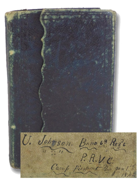 Pocket Diary for 1862. Containing a Blank Space for Every Day in the Year, Cash Account, Memoranda, &c.: 1862 Civil War Union Soldier and Musician Uriah Johnson's Manuscript Diary: Pennsylvania Reserve Volunteer Corps, 6th Regiment Band [with] Two Ambrotypes, Four CDVs, and One Glass Plate Photographic Negative