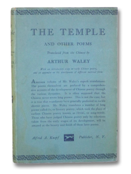 The Temple and Other Poems, Waley, Arthur