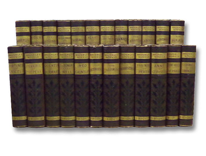 The Waverley Novels, in 24 Volumes: Waverley or 'Tis Sixty Years Since;  Guy Mannering: The Astrologer;  The Antiquary;  The Black Dwarf and Old Mortality [Tales of My Landlord, First Series];  Rob Roy;  The Heart of Mid-Lothian [Tales of My Landlord, Second Series];  The Bride of Lammermoor and A Legend of Montrose [Tales of My Landlord, Third Series];  Ivanhoe. A Romance.;  The Monastery;  The Abbot: Being a Sequel to The Monastery;  Kenilworth;  The Pirate;  The Fortunes of Nigel;  Peveril of the Peak;  Quentin Durward;  St. Ronan's Well;  Redgauntlet: A Tale of the Eighteenth Century;  The Betrothed: A Tale of the Crusaders and The Chronicles of the Canongate;  The Talisman: A Tale of the Crusaders and The Chronicles of the Canongate;  Woodstock, or The Cavalier: A Tale of the Year Sixteen Hundred and Fifty-One;  The Fair Maid of Perth, or St. Valentine's Day (Chronicles of the Canongate - Second Series);  Anne of Geierstein; or, The Maiden of the Mist;  Count Robert of Paris;  The Chronicles of the..., Scott, Sir Walter