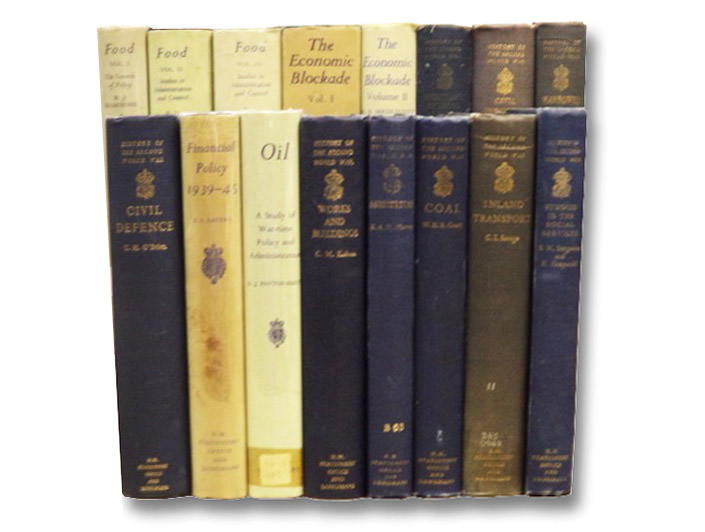 General Services, in Sixteen Volumes: Food: Volume I: The Growth of Policy, Food Volume II & III: Studies in Administration and Control; The Economic Blockade Volumes I & II: 1939-1941, 1941-1945; Merchant Shipping and the Demands of War; Civil Industry and Trade; Manpower: A Study of War-Time Policy and Administration; Civil Defence; Financial Policy; Oil; Works and Buildings; Agriculture; Coal; Inland Transport; Studies in Social Services (History of the Second World War United Kingdom Civil Series), Hammond, Richard J.; Medlicott, William N.; Behrens, Catherine B.A.; Hargreaves, Eric L.; Gowing, M.M.; Parker, Henry M.D.; O'Brien, Terence H.; Sayers, Richard S.; Payton-Smith, D.J.; Kohan, C.M.; Murray, Keith A.H.; Court, William H.B.; Savage, Christo