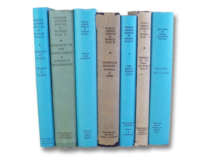 General War Administration and Organizations, in Seven Volumes: Defence of India: Policy and Plans; Expansion of the Armed Forces and Defence Organisation; Indian War Economy; Technical Services: Engineers, Ordnance Services and IEME; History of the Royal Indian Navy; History of the Indian Air Force, 1933-45; The Corps of Indian Engineers (The Official History of the Indian Armed Forces in World War II), Prasad, Bisheshwar; Sinha, N.C.; Khera, P.N.; Litt, D.; Gupta, S.C.; Verma, S.; Anand, V.K.; Sandes, E.W.C.