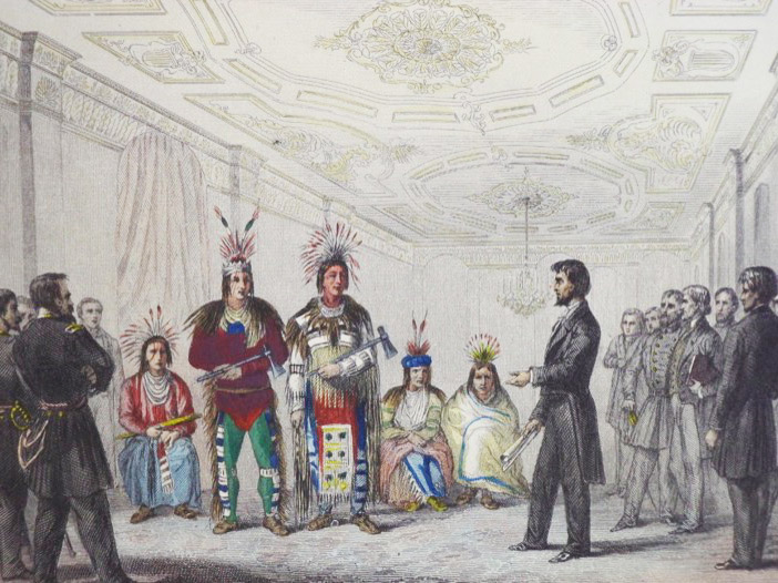 Lincoln Recevant les Indiens Comanches [Lincoln Receives the Comanche Indians], Delanney, Ferd.