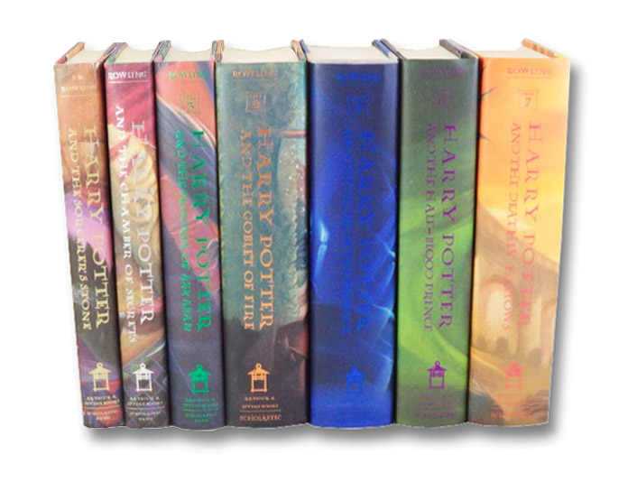 Harry Potter Complete Seven Volume Set of First American Editions: Harry Potter and the Sorcerer's Stone; Harry Potter and the Chamber of Secrets; Harry Potter and the Prisoner of Azkaban; Harry Potter and the Goblet of Fire; Harry Potter and the Order of the Phoenix; Harry Potter and the Half-Blood Prince; Harry Potter and the Deathly Hallows (Years 1-7), Rowling, J.K.